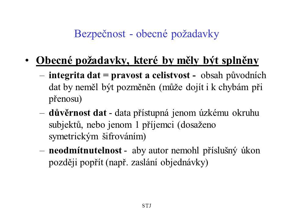STJ Bezpečnost - obecné požadavky Obecné požadavky, které by měly být splněny –integrita dat = pravost a celistvost - obsah původních dat by neměl být
