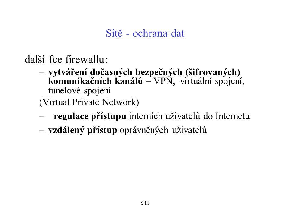 STJ Sítě - ochrana dat –autentizace - ověřování totožnosti partnerů –obsluha síťových služeb - zároveň může fungovat jako nameserver, poštovní server, vyrovnávací server (cache), viruswall Implementace FW různými způsoby –někdy výkonné unixové servery –někdy se nazývají proxy servery, proxy brány –jsou i osobní firewally (Kerio Personal Fw)