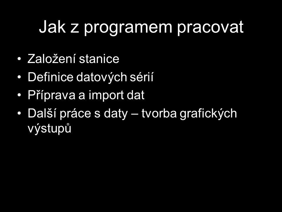 Založení stanice Definicí stanice získáme novou složku v databázi, kam vkládáme data Není třeba zadávat reálné parametry (souřadnice lokality, rozlohu apod.), pokud nebudeme používat analytické funkce