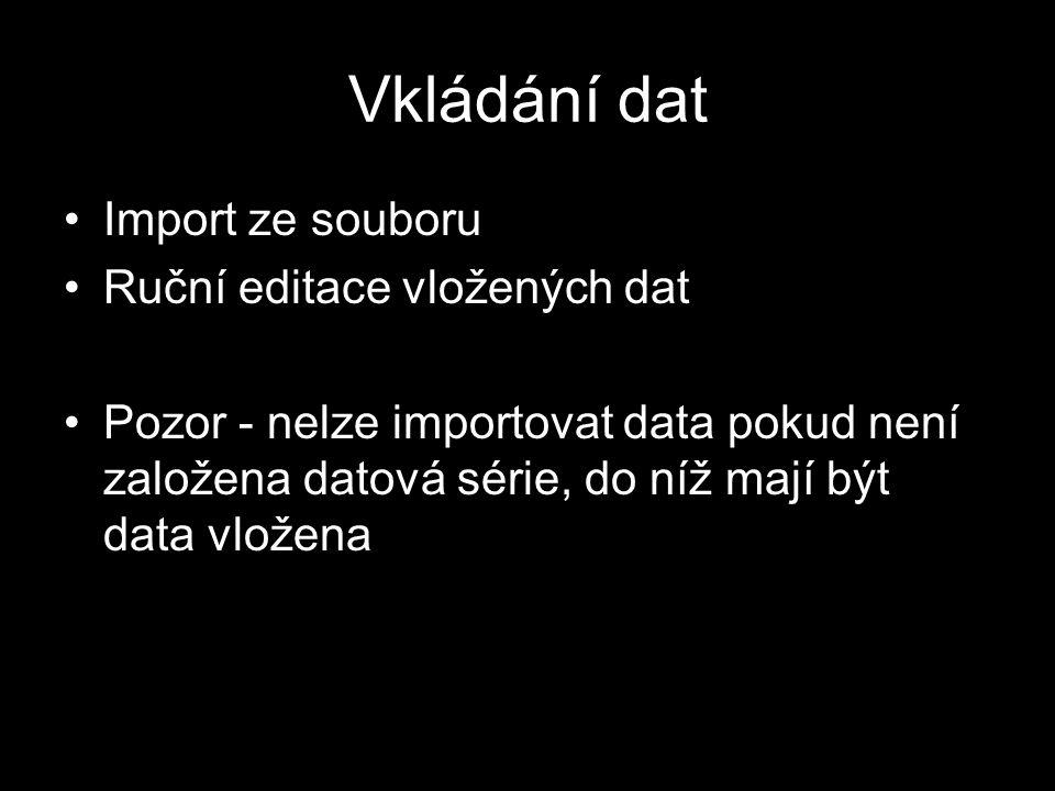 Vkládání dat Import ze souboru Ruční editace vložených dat Pozor - nelze importovat data pokud není založena datová série, do níž mají být data vložena