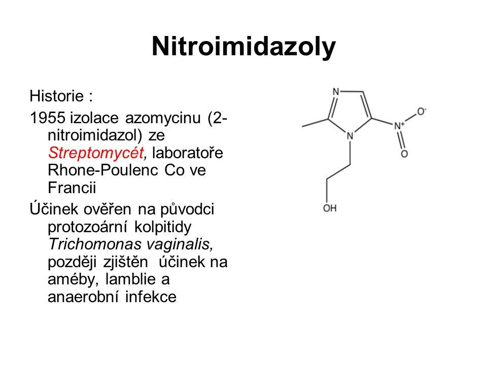 Nitroimidazoly Historie : 1955 izolace azomycinu (2- nitroimidazol) ze Streptomycét, laboratoře Rhone-Poulenc Co ve Francii Účinek ověřen na původci p
