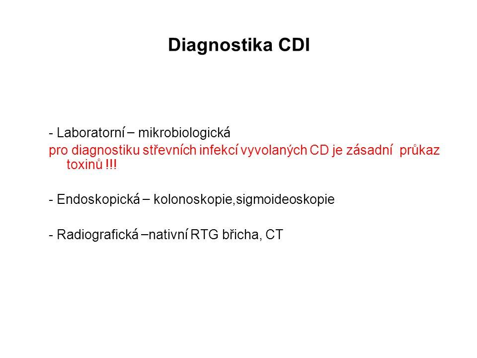 Diagnostika CDI - Laboratorn í – mikrobiologick á pro diagnostiku střevn í ch infekc í vyvolaných CD je z á sadn í průkaz toxinů !!! - Endoskopick á –