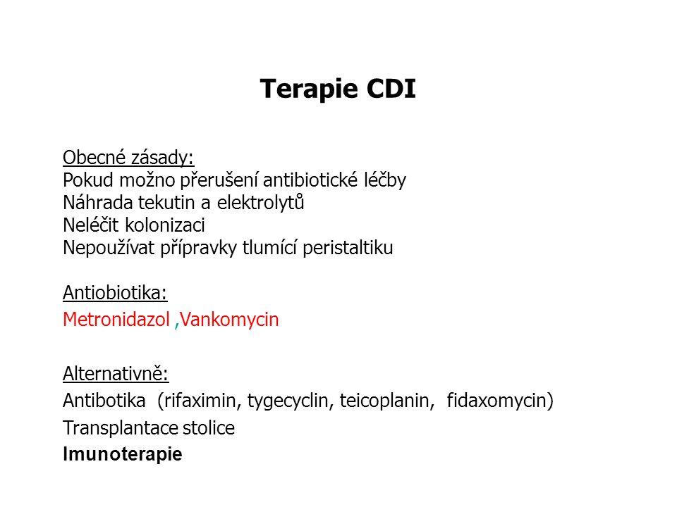 Terapie CDI Obecné zásady: Pokud možno přerušení antibiotické léčby Náhrada tekutin a elektrolytů Neléčit kolonizaci Nepoužívat přípravky tlumící peri