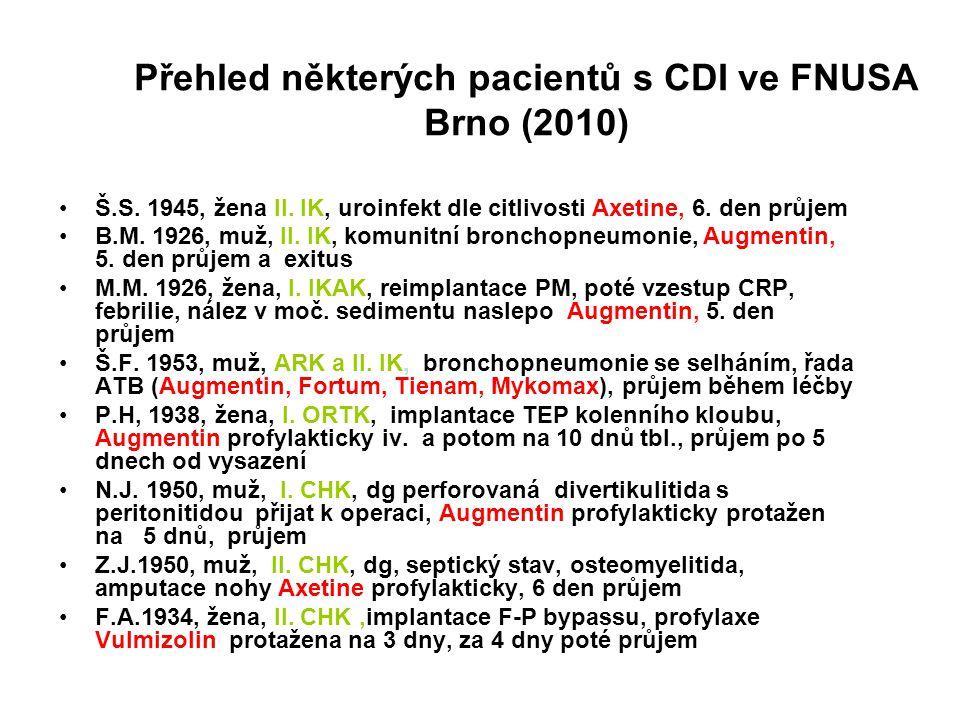 Přehled některých pacientů s CDI ve FNUSA Brno (2010) Š.S. 1945, žena II. IK, uroinfekt dle citlivosti Axetine, 6. den průjem B.M. 1926, muž, II. IK,