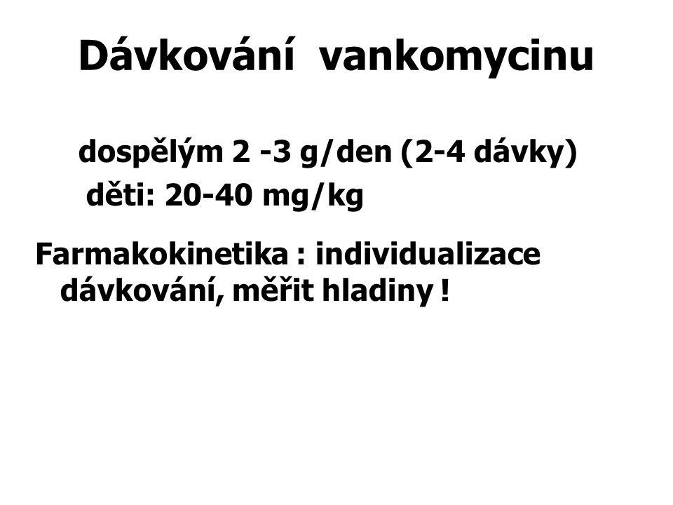 Dávkování vankomycinu dospělým 2 -3 g/den (2-4 dávky) děti: 20-40 mg/kg Farmakokinetika : individualizace dávkování, měřit hladiny !