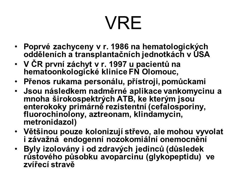 VRE Poprvé zachyceny v r. 1986 na hematologických odděleních a transplantačních jednotkách v USA V ČR první záchyt v r. 1997 u pacientů na hematoonkol