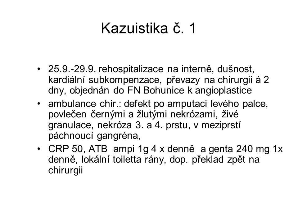 Kazuistika č. 1 25.9.-29.9. rehospitalizace na interně, dušnost, kardiální subkompenzace, převazy na chirurgii á 2 dny, objednán do FN Bohunice k angi