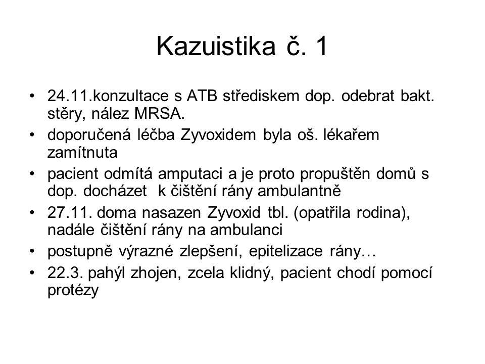 Kazuistika č. 1 24.11.konzultace s ATB střediskem dop. odebrat bakt. stěry, nález MRSA. doporučená léčba Zyvoxidem byla oš. lékařem zamítnuta pacient