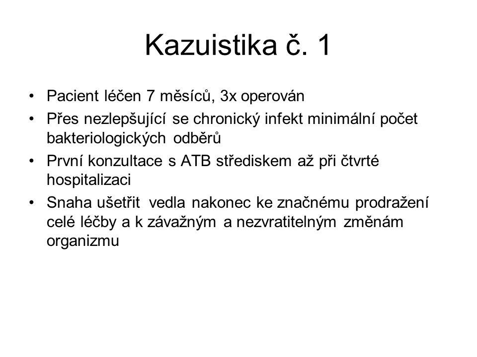 Kazuistika č. 1 Pacient léčen 7 měsíců, 3x operován Přes nezlepšující se chronický infekt minimální počet bakteriologických odběrů První konzultace s