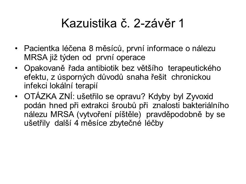 Kazuistika č. 2-závěr 1 Pacientka léčena 8 měsíců, první informace o nálezu MRSA již týden od první operace Opakovaně řada antibiotik bez většího tera