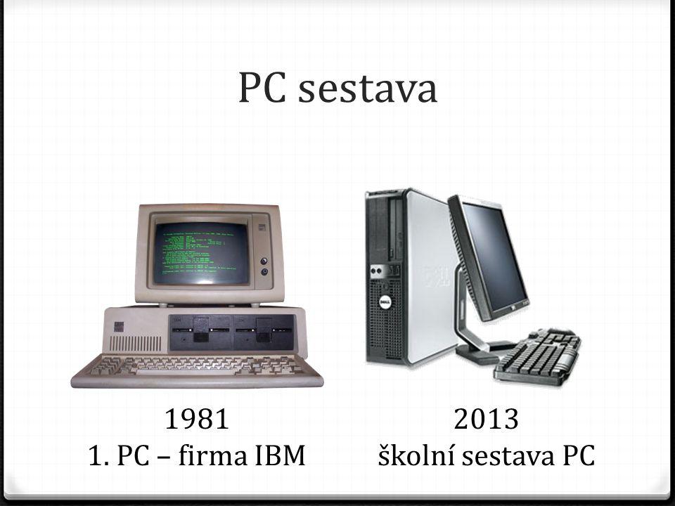 PC sestava 1981 1. PC – firma IBM 2013 školní sestava PC