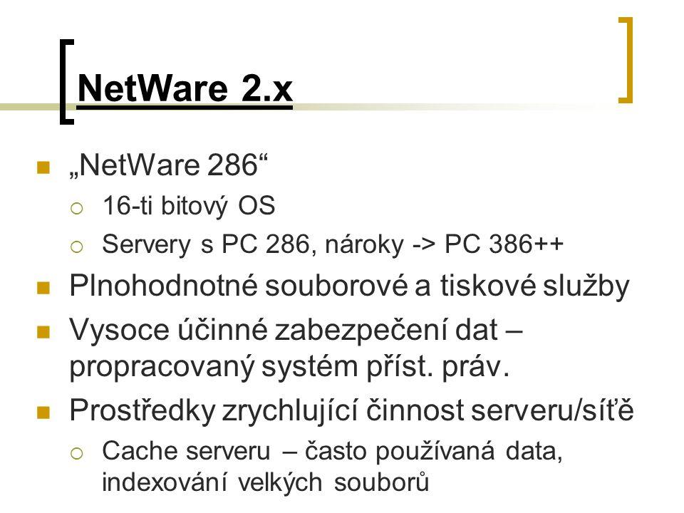 """NetWare 2.x """"NetWare 286""""  16-ti bitový OS  Servery s PC 286, nároky -> PC 386++ Plnohodnotné souborové a tiskové služby Vysoce účinné zabezpečení d"""