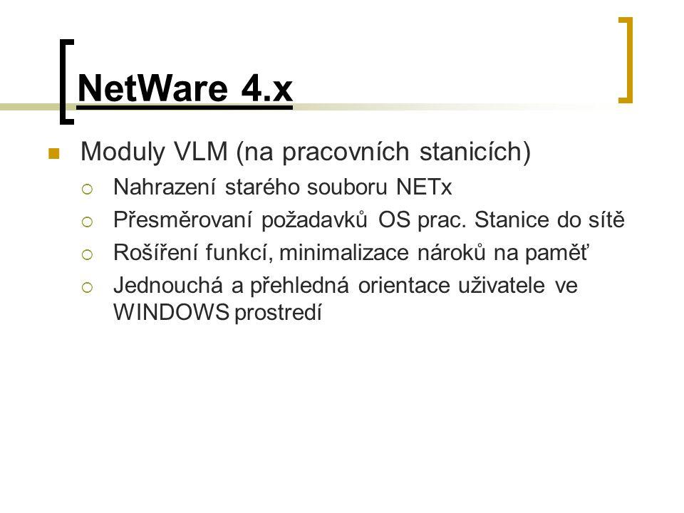NetWare 4.x Moduly VLM (na pracovních stanicích)  Nahrazení starého souboru NETx  Přesměrovaní požadavků OS prac. Stanice do sítě  Rošíření funkcí,