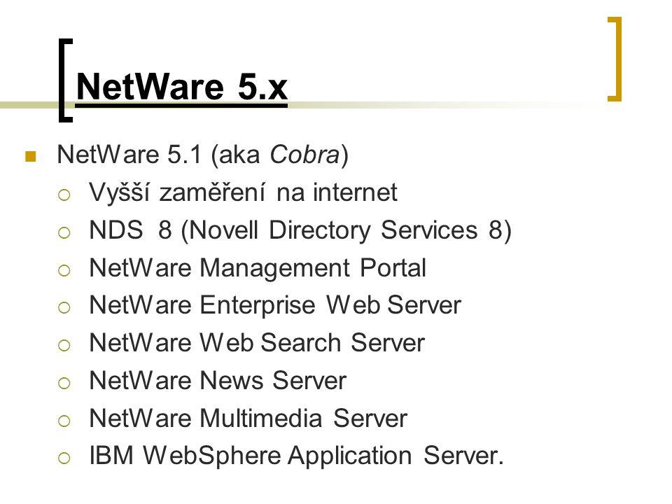 NetWare 5.x NetWare 5.1 (aka Cobra)  Vyšší zaměření na internet  NDS 8 (Novell Directory Services 8)  NetWare Management Portal  NetWare Enterpris