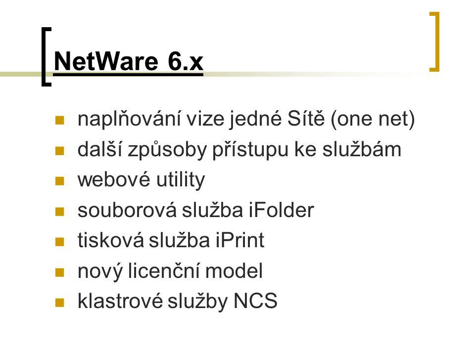 NetWare 6.x naplňování vize jedné Sítě (one net) další způsoby přístupu ke službám webové utility souborová služba iFolder tisková služba iPrint nový