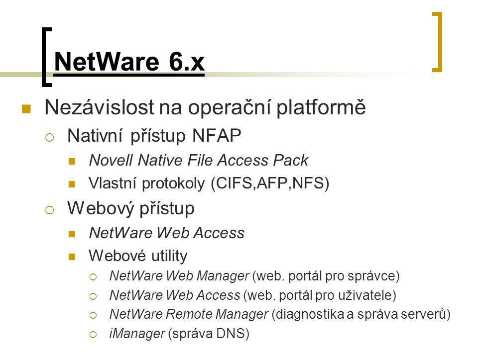 NetWare 6.x Nezávislost na operační platformě  Nativní přístup NFAP Novell Native File Access Pack Vlastní protokoly (CIFS,AFP,NFS)  Webový přístup