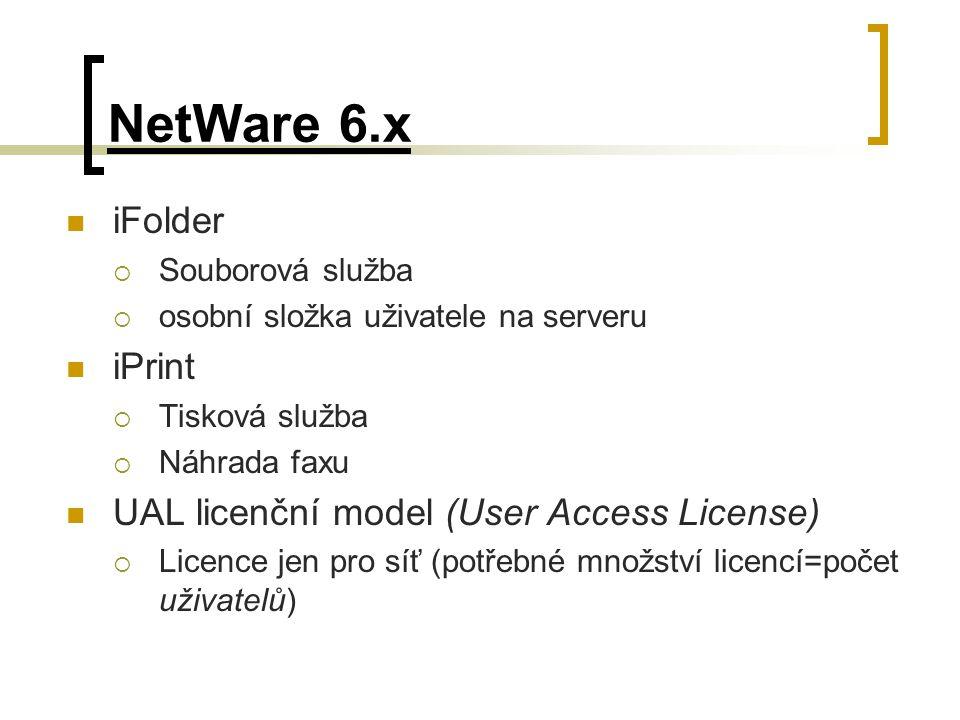 NetWare 6.x iFolder  Souborová služba  osobní složka uživatele na serveru iPrint  Tisková služba  Náhrada faxu UAL licenční model (User Access Lic