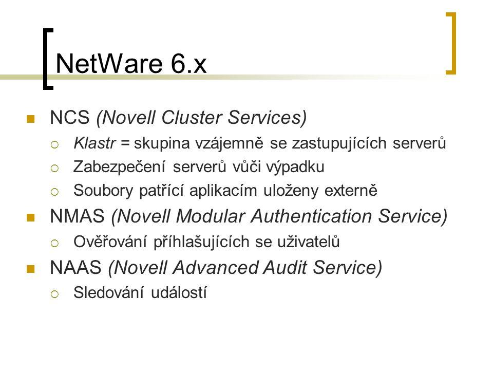 NetWare 6.x NCS (Novell Cluster Services)  Klastr = skupina vzájemně se zastupujících serverů  Zabezpečení serverů vůči výpadku  Soubory patřící ap