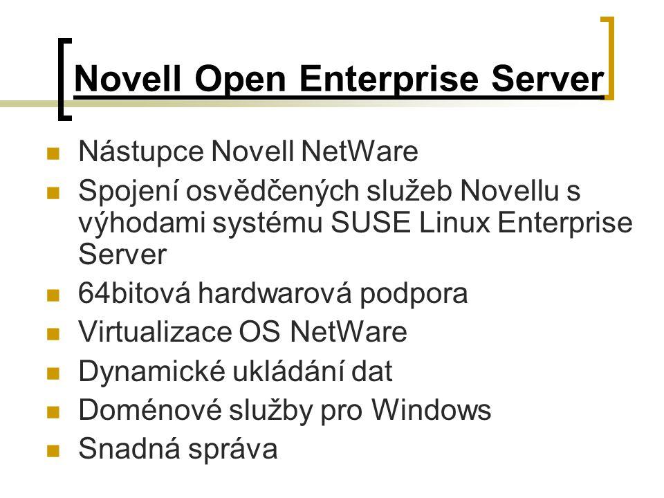 Novell Open Enterprise Server Nástupce Novell NetWare Spojení osvědčených služeb Novellu s výhodami systému SUSE Linux Enterprise Server 64bitová hard