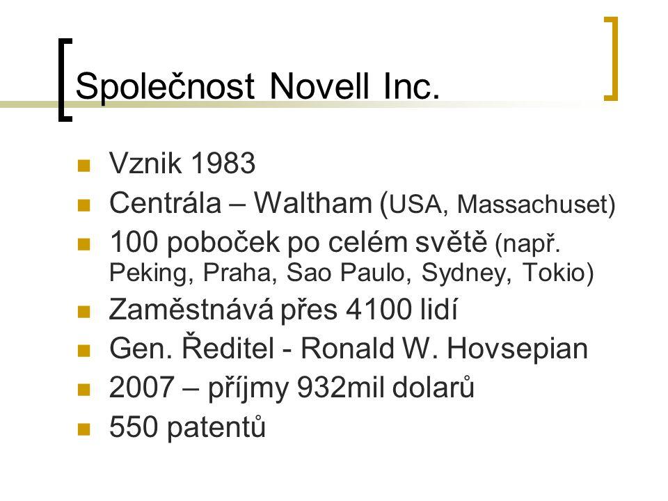 Společnost Novell Inc. Vznik 1983 Centrála – Waltham ( USA, Massachuset) 100 poboček po celém světě (např. Peking, Praha, Sao Paulo, Sydney, Tokio) Za