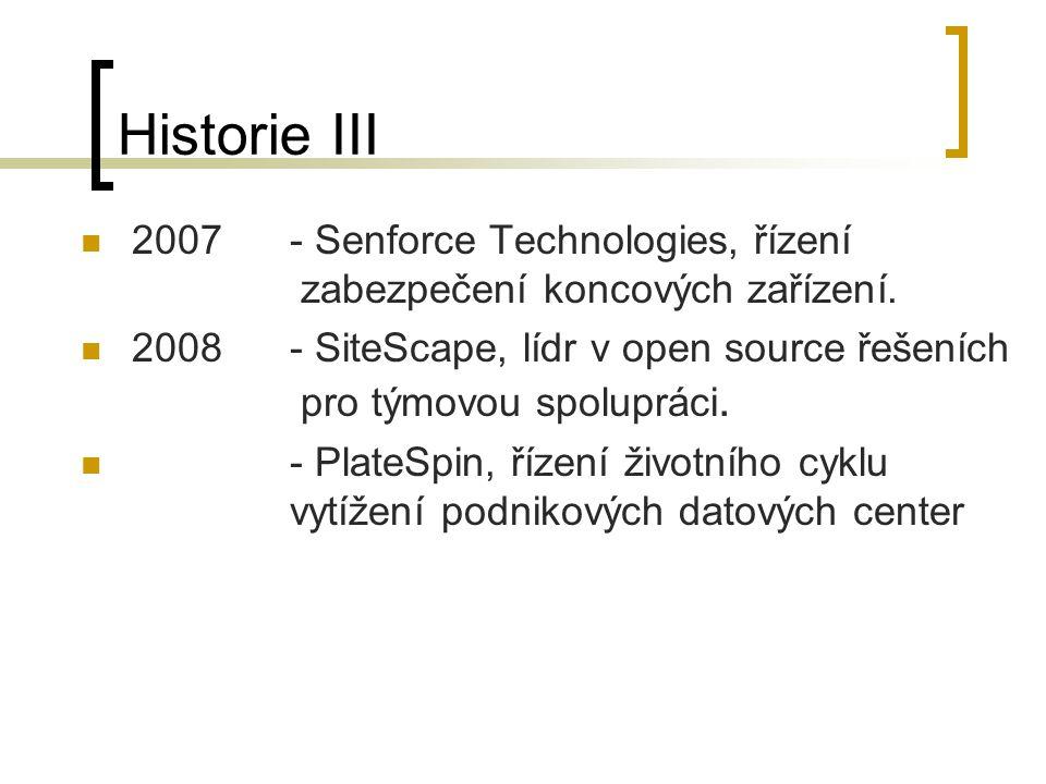 Historie III 2007- Senforce Technologies, řízení zabezpečení koncových zařízení. 2008 - SiteScape, lídr v open source řešeních pro týmovou spolupráci.