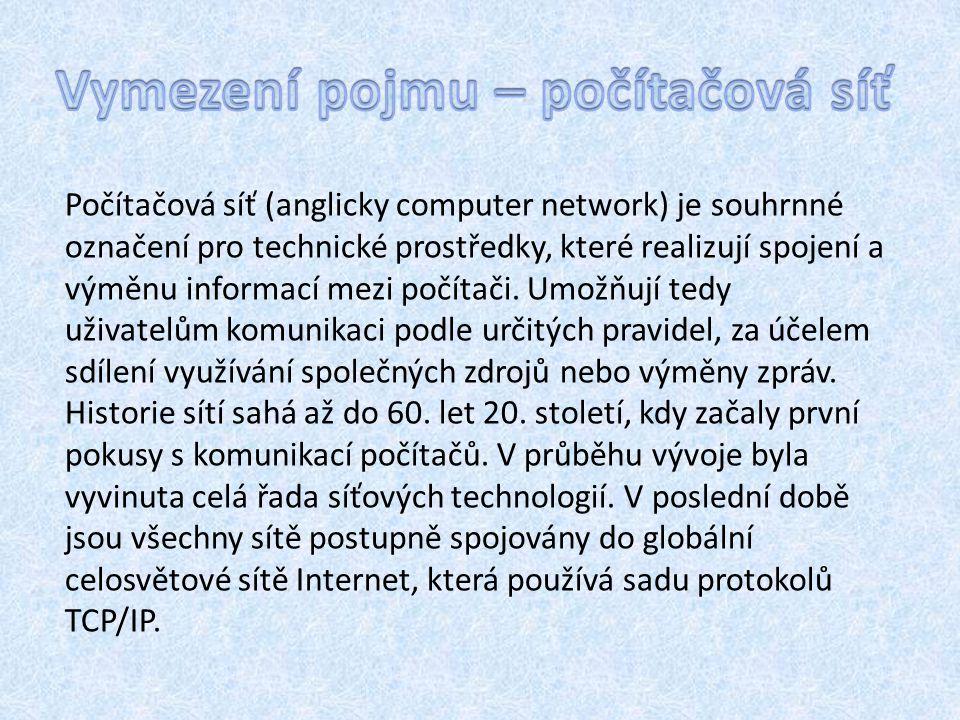 Počítačová síť (anglicky computer network) je souhrnné označení pro technické prostředky, které realizují spojení a výměnu informací mezi počítači.