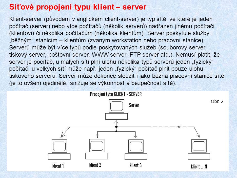 Síťové propojení typu klient – server Klient-server (původem v anglickém client-server) je typ sítě, ve které je jeden počítač (server) nebo více počítačů (několik serverů) nadřazen jinému počítači (klientovi) či několika počítačům (několika klientům).