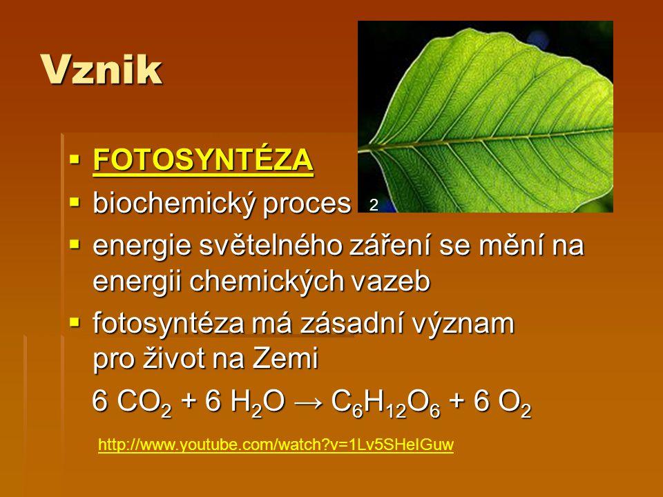 Vznik  FOTOSYNTÉZA FOTOSYNTÉZA  biochemický proces  biochemický proces  energie světelného záření se mění na energii chemických vazeb  fotosyntéza má zásadní význam pro život na Zemi 6 CO 2 + 6 H 2 O → C 6 H 12 O 6 + 6 O 2 6 CO 2 + 6 H 2 O → C 6 H 12 O 6 + 6 O 2 2 http://www.youtube.com/watch v=1Lv5SHeIGuw