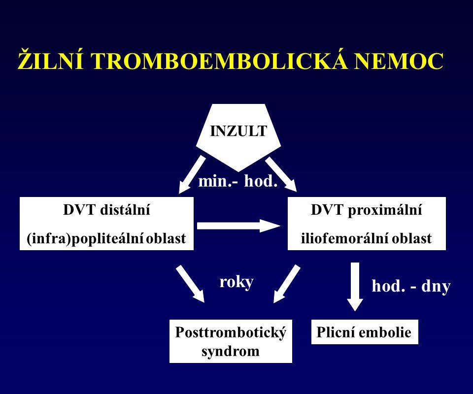 ŽILNÍ TROMBOEMBOLICKÁ NEMOC DVT distální (infra)popliteální oblast DVT proximální iliofemorální oblast Posttrombotický syndrom Plicní embolie INZULT m