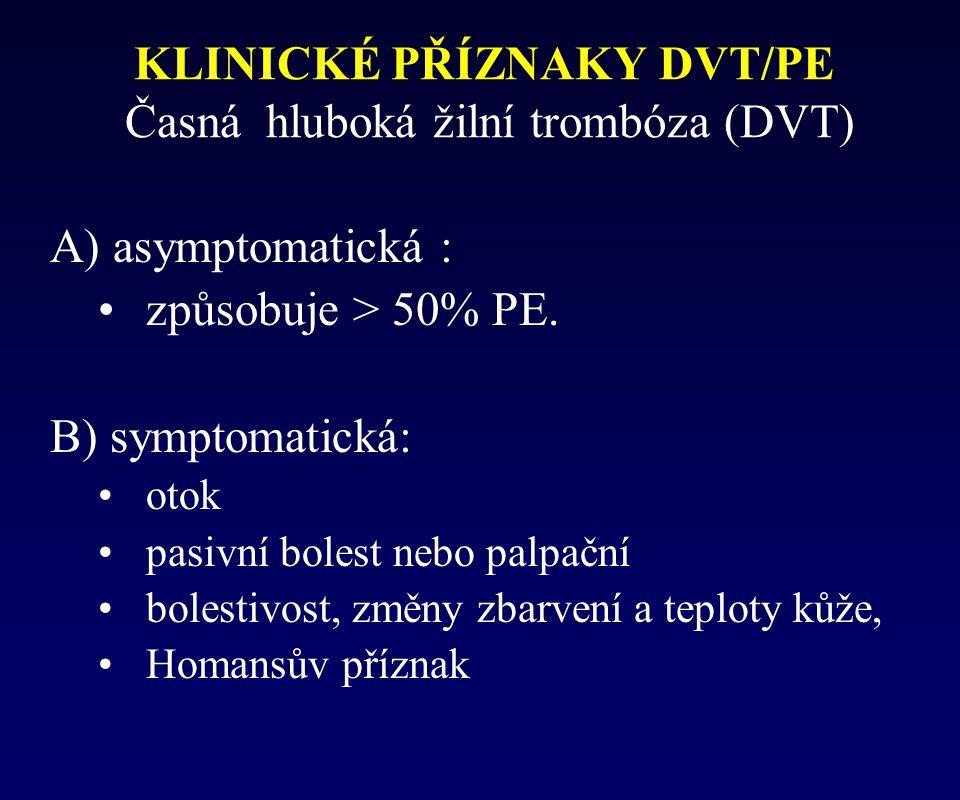 KLINICKÉ PŘÍZNAKY DVT/PE Časná hluboká žilní trombóza (DVT) A) asymptomatická : způsobuje > 50% PE. B) symptomatická: otok pasivní bolest nebo palpačn