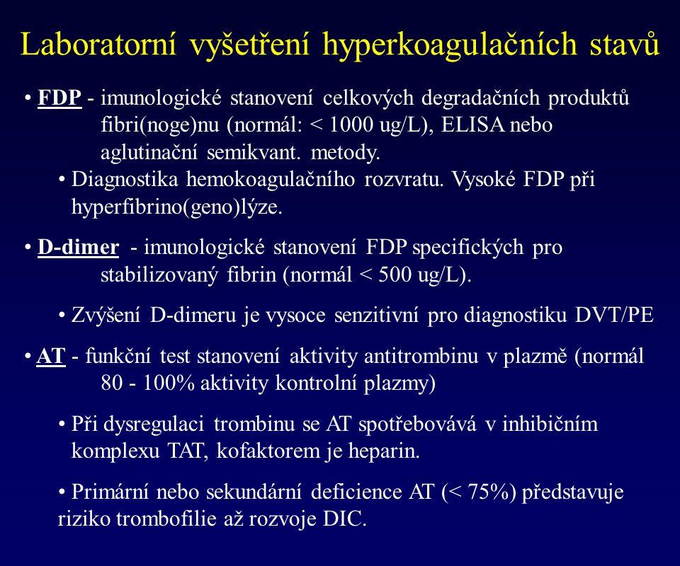 Laboratorní vyšetření hyperkoagulačních stavů FDP - imunologické stanovení celkových degradačních produktů fibri(noge)nu (normál: < 1000 ug/L), ELISA