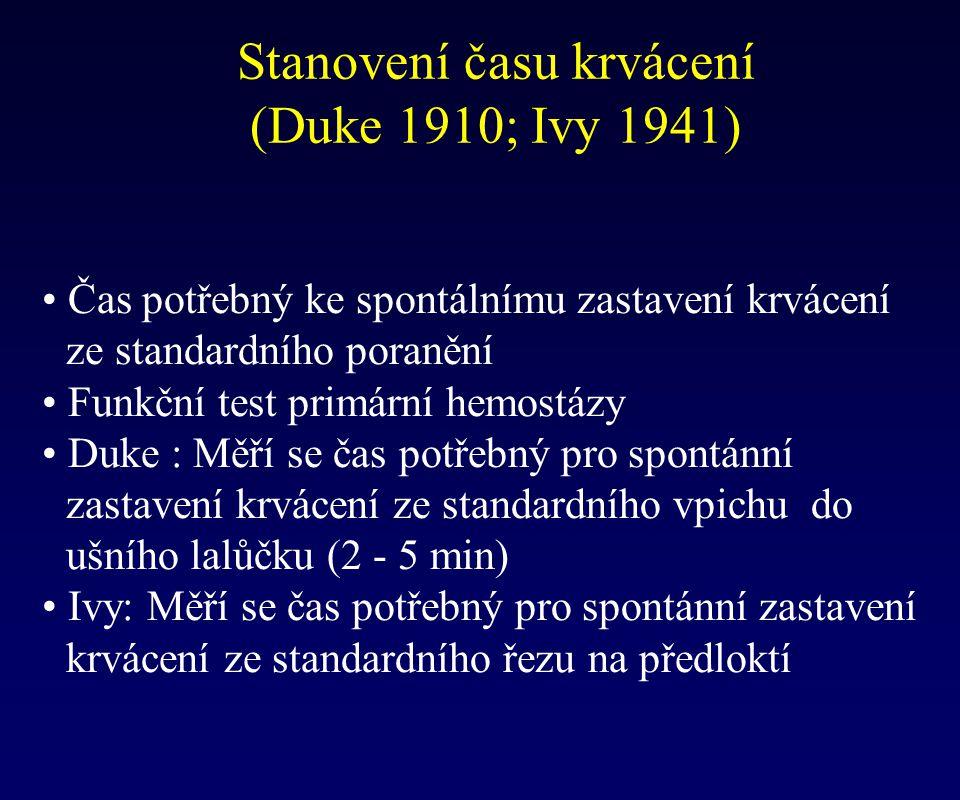 Stanovení času krvácení (Duke 1910; Ivy 1941) Čas potřebný ke spontálnímu zastavení krvácení ze standardního poranění Funkční test primární hemostázy