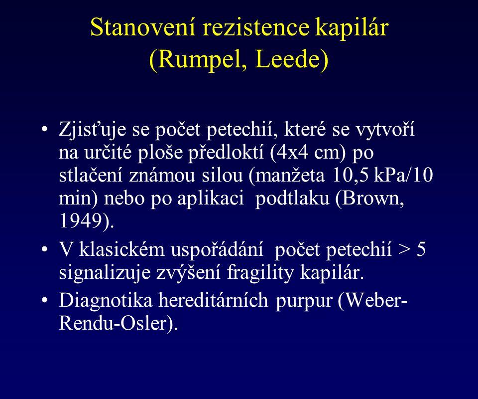 Stanovení rezistence kapilár (Rumpel, Leede) Zjisťuje se počet petechií, které se vytvoří na určité ploše předloktí (4x4 cm) po stlačení známou silou