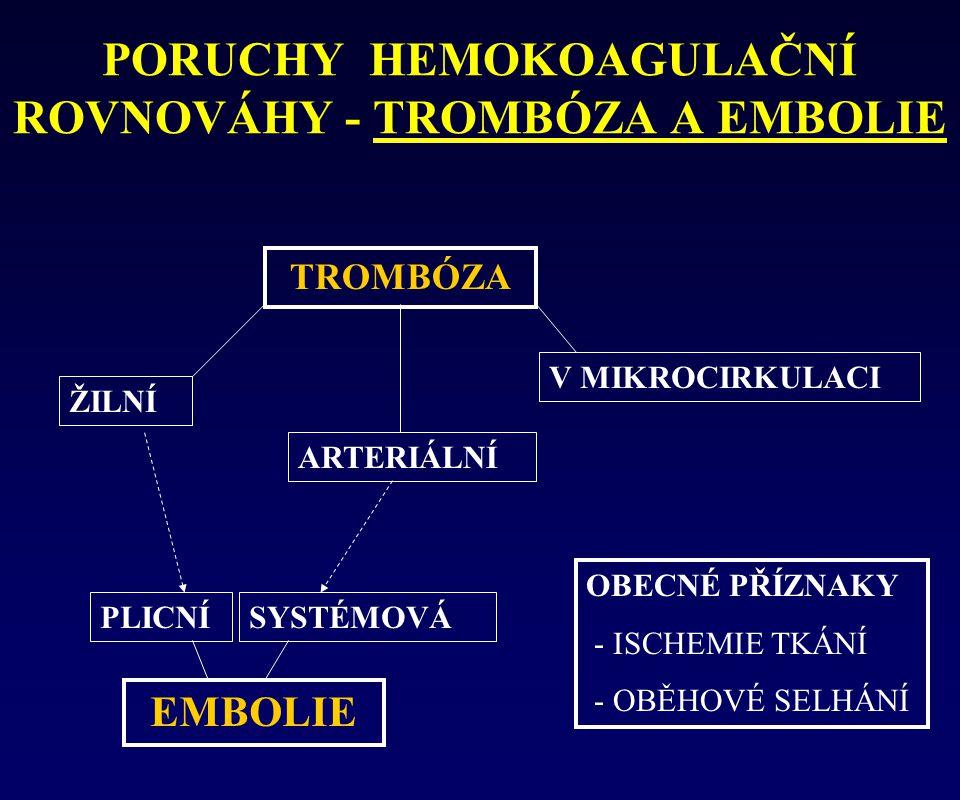 PORUCHY HEMOKOAGULAČNÍ ROVNOVÁHY - TROMBÓZA A EMBOLIE TROMBÓZA V MIKROCIRKULACI ARTERIÁLNÍ ŽILNÍ EMBOLIE PLICNÍSYSTÉMOVÁ OBECNÉ PŘÍZNAKY - ISCHEMIE TK