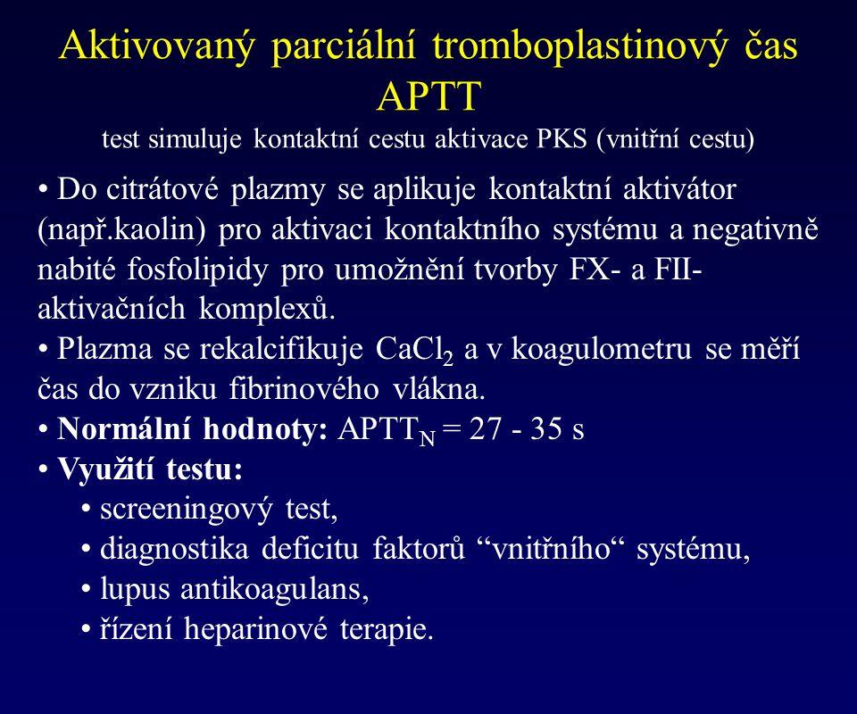 Aktivovaný parciální tromboplastinový čas APTT test simuluje kontaktní cestu aktivace PKS (vnitřní cestu) Do citrátové plazmy se aplikuje kontaktní ak