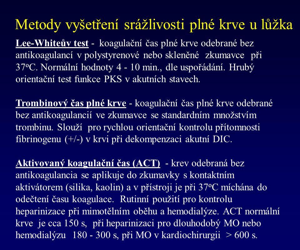 Metody vyšetření srážlivosti plné krve u lůžka Lee-Whiteův test - koagulační čas plné krve odebrané bez antikoagulancí v polystyrenové nebo skleněné z