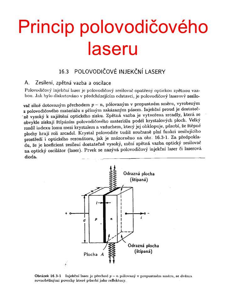 Schema energetických hladin v heterostrukturním zesilovači