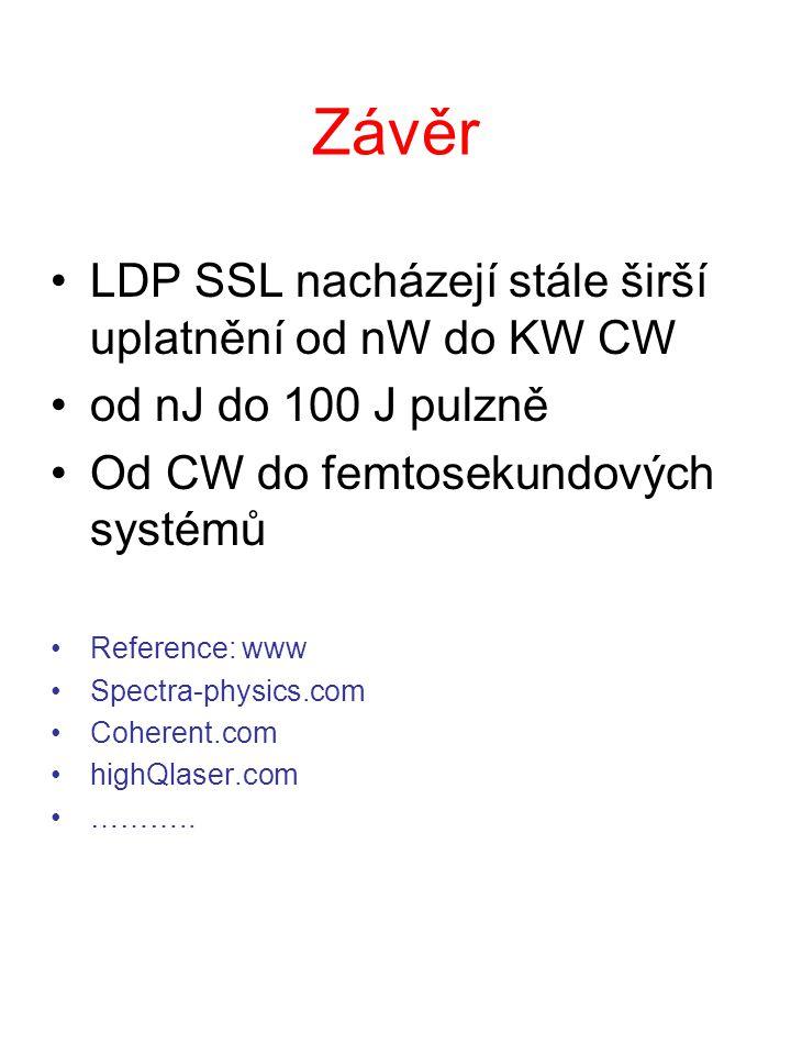 Závěr LDP SSL nacházejí stále širší uplatnění od nW do KW CW od nJ do 100 J pulzně Od CW do femtosekundových systémů Reference: www Spectra-physics.co