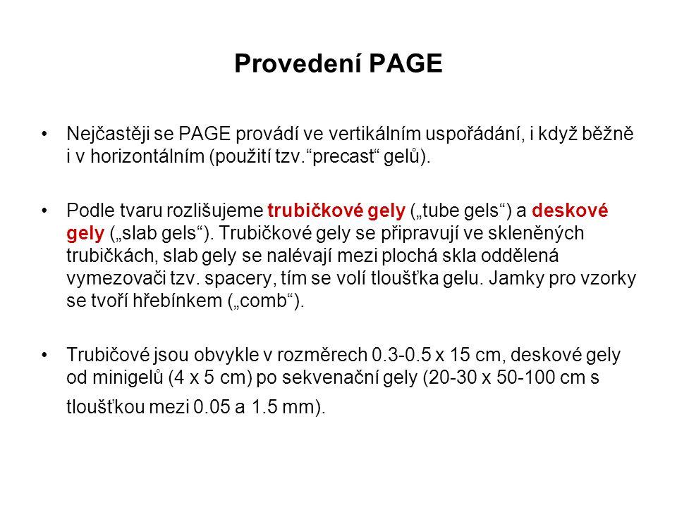 """Nejčastěji se PAGE provádí ve vertikálním uspořádání, i když běžně i v horizontálním (použití tzv.""""precast"""" gelů). Podle tvaru rozlišujeme trubičkové"""