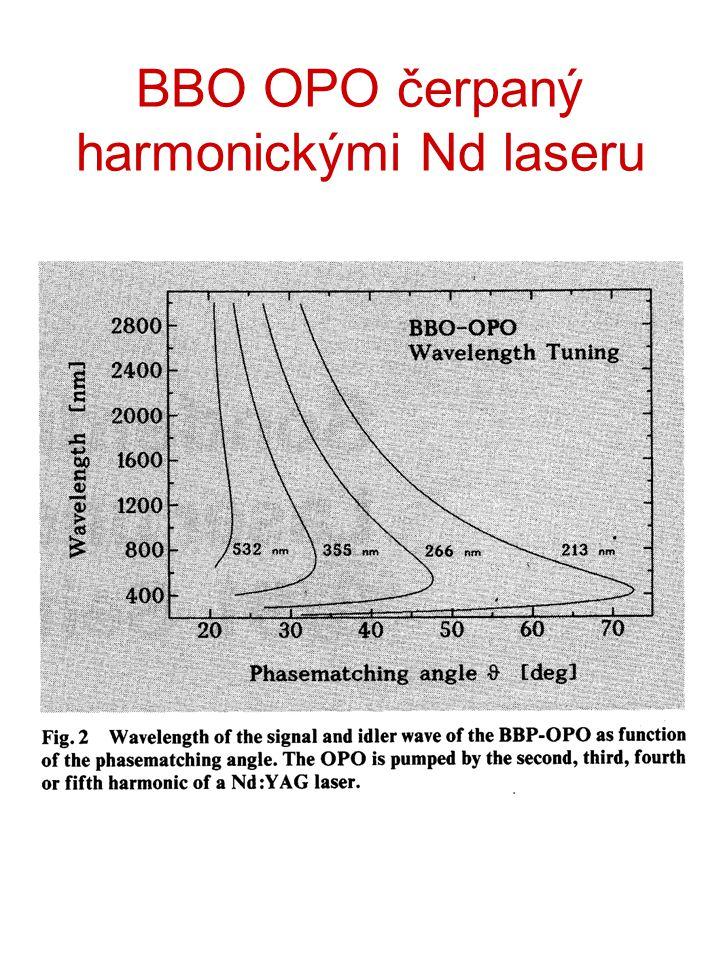 BBO OPO čerpaný harmonickými Nd laseru