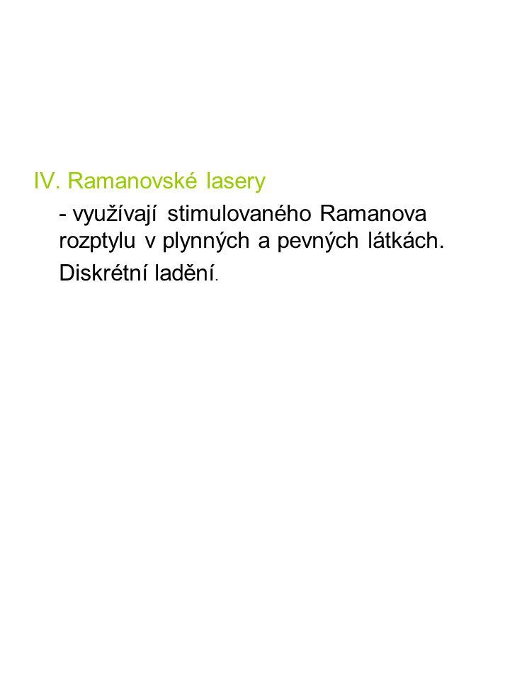 IV. Ramanovské lasery - využívají stimulovaného Ramanova rozptylu v plynných a pevných látkách. Diskrétní ladění.