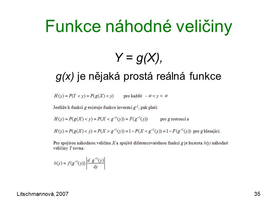 Litschmannová, 200735 Funkce náhodné veličiny Y = g(X), g(x) je nějaká prostá reálná funkce