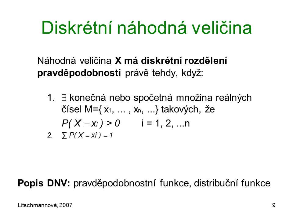 Litschmannová, 20079 Diskrétní náhodná veličina Náhodná veličina X má diskrétní rozdělení pravděpodobnosti právě tehdy, když: 1.  konečná nebo spočet