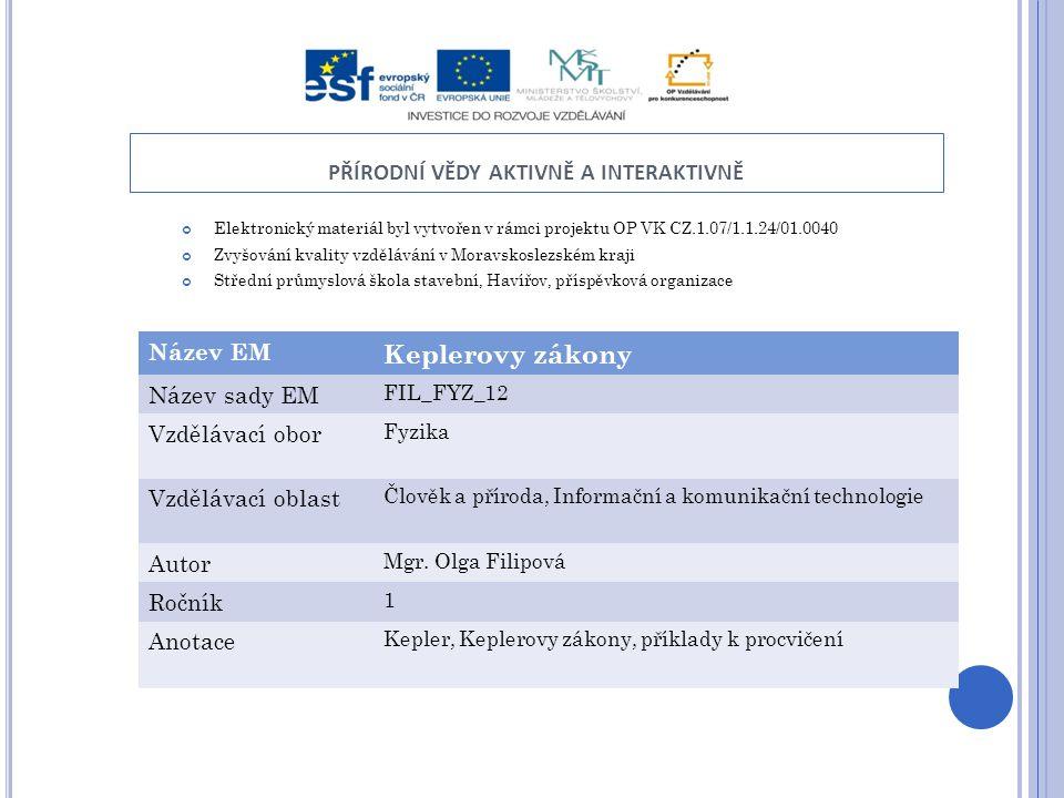 PŘÍRODNÍ VĚDY AKTIVNĚ A INTERAKTIVNĚ Elektronický materiál byl vytvořen v rámci projektu OP VK CZ.1.07/1.1.24/01.0040 Zvyšování kvality vzdělávání v M