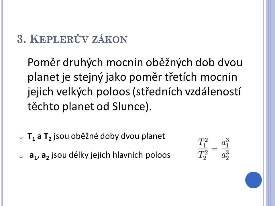 3. K EPLERŮV ZÁKON Poměr druhých mocnin oběžných dob dvou planet je stejný jako poměr třetích mocnin jejich velkých poloos (středních vzdáleností těch