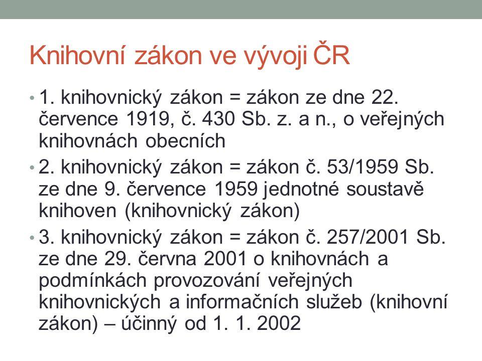Knihovní zákon ve vývoji ČR 1. knihovnický zákon = zákon ze dne 22. července 1919, č. 430 Sb. z. a n., o veřejných knihovnách obecních 2. knihovnický