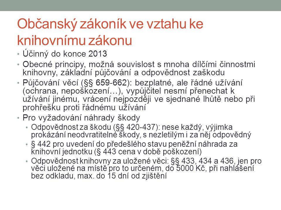 Občanský zákoník ve vztahu ke knihovnímu zákonu Účinný do konce 2013 Obecné principy, možná souvislost s mnoha dílčími činnostmi knihovny, základní pů
