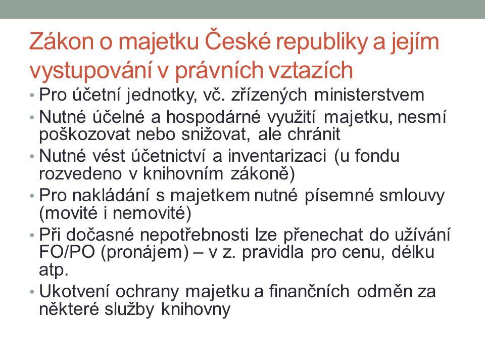 Zákon o majetku České republiky a jejím vystupování v právních vztazích Pro účetní jednotky, vč. zřízených ministerstvem Nutné účelné a hospodárné vyu