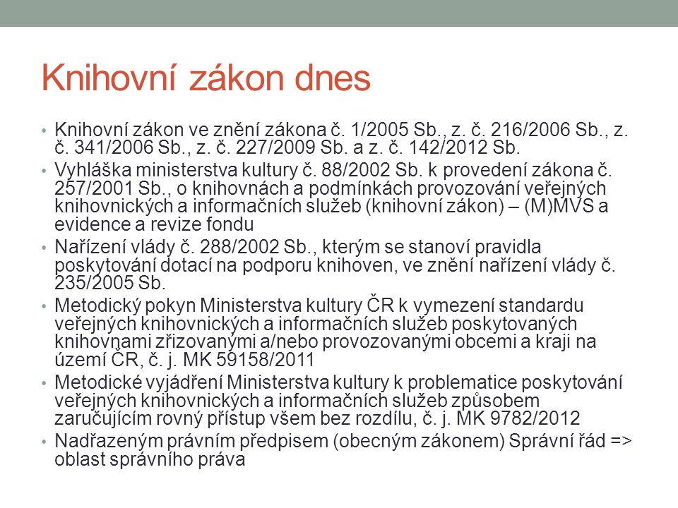 Knihovní zákon dnes Knihovní zákon ve znění zákona č. 1/2005 Sb., z. č. 216/2006 Sb., z. č. 341/2006 Sb., z. č. 227/2009 Sb. a z. č. 142/2012 Sb. Vyhl