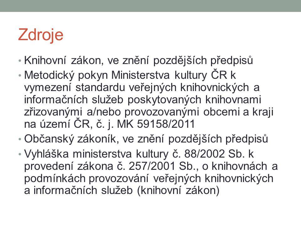 Zdroje Knihovní zákon, ve znění pozdějších předpisů Metodický pokyn Ministerstva kultury ČR k vymezení standardu veřejných knihovnických a informačníc